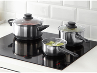 Hot Cooking Tools 3pcs Cookware Set Stainless Glass Lid Stock Pot Kitchen Pan Set Milk Soup