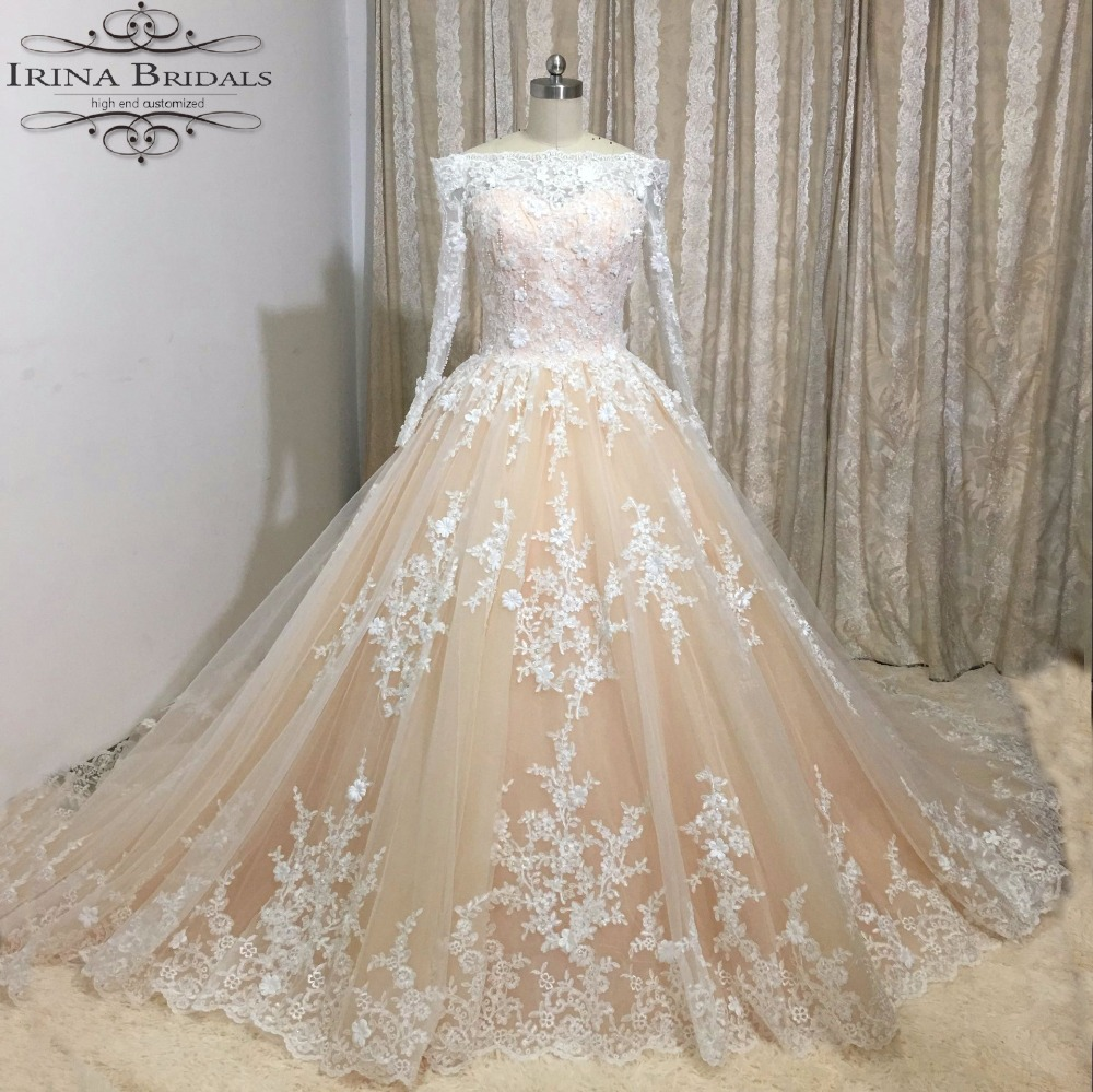 Buy luxury boat neck long sleeve lace for Flowers for champagne wedding dress