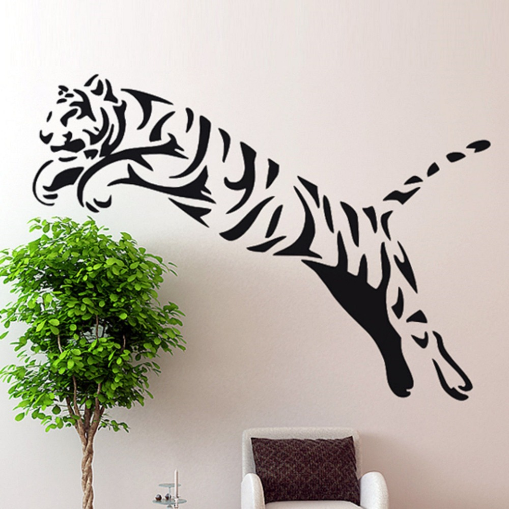 Tiger Wall Sticker Wild Cheetah Cat African Animal Tiger Wall Art Sticker Bedroom Animal Wall Sticker