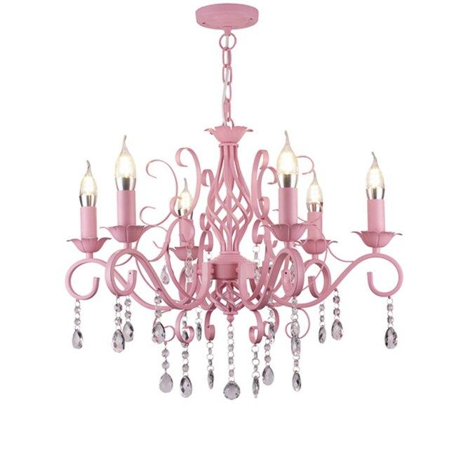 US $198.36 13% OFF|Anhänger ankleideraum rosa kronleuchter kinderzimmer  schlafzimmer restaurant schlafzimmer pastoralen führte Kerze Kronleuchter  ...