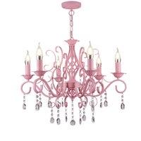 pendant dressing room pink chandelier Children room bedroom restaurant bedroom pastoral led Candle Chandelier Princess lampalas