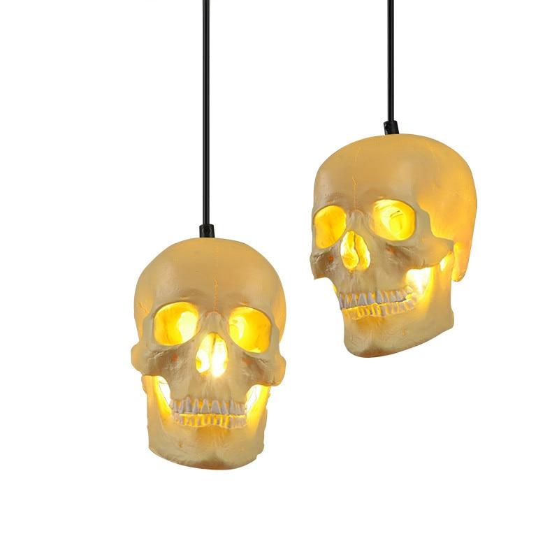 Art Deco Skull Pendant Light Personalized Handmade Resin Skull Pendant Lamp Decorative Indoor Pendant  Lights Drop Home Lights