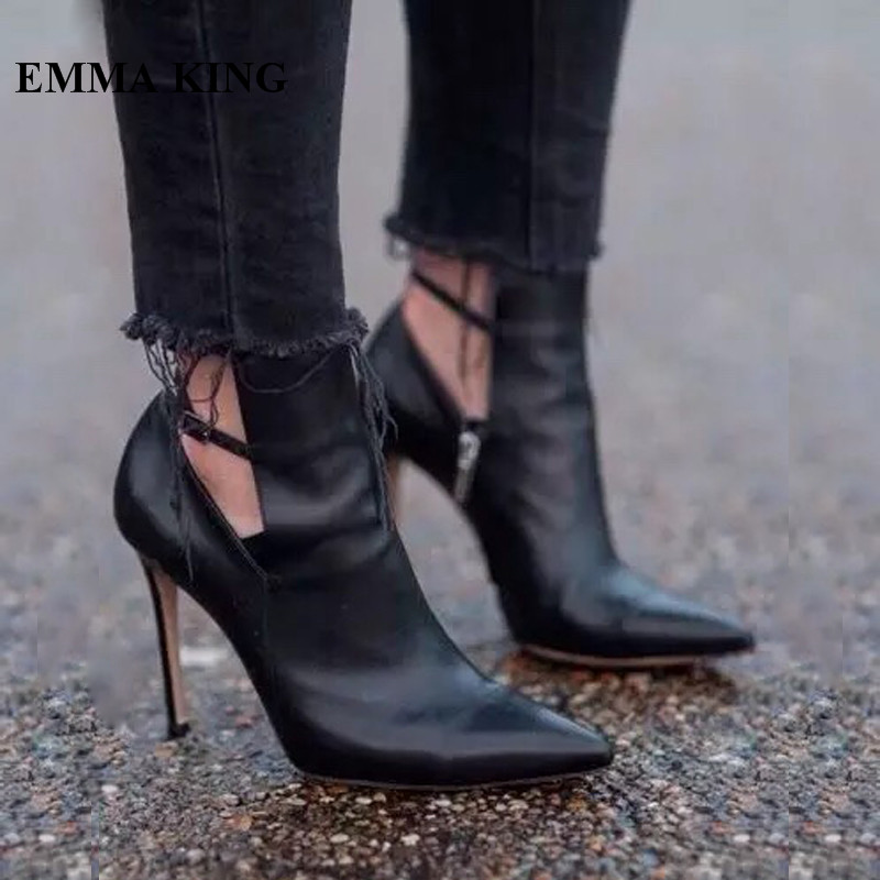 Fashion Pu Leather Ankle Boots For Women Thin High Heels Dress Shoes Women Buckle Strap Poitned Black Booties 2018 Botines MujerFashion Pu Leather Ankle Boots For Women Thin High Heels Dress Shoes Women Buckle Strap Poitned Black Booties 2018 Botines Mujer