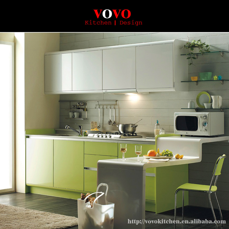 New modular kitchen cabinet green colour in kitchen Newwood cupboards
