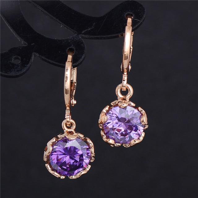 H:HYDE Fashion New Women/Girl's Gold Color White CZ Stone Dangle Earrings Gift J