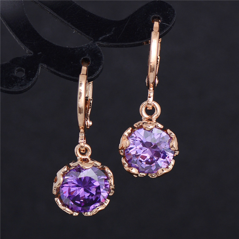 H:HYDE Fashion New Women/Girls Gold Color White CZ Stone Dangle Earrings Gift Jewelry boucle doreille femme