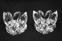 free shipping 10x10x11cm high quality beautiful a couple of crystal swan for wedding gifts
