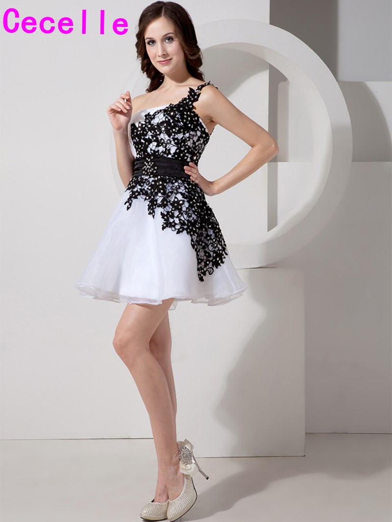 Black and White Short Juniors   Cocktail     Dresses   One Shoulder Lace Appliques Tulle Mini Cute Teens Informal Prom Party Gowns Real