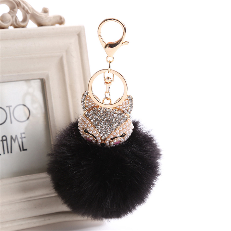 2017 New Artificial Rabbit Fur Ball Keychain Rhinestone Crystal Fox Head Pompon Trinket Key Chain Handbag Fluffy Key Ring Holder 10