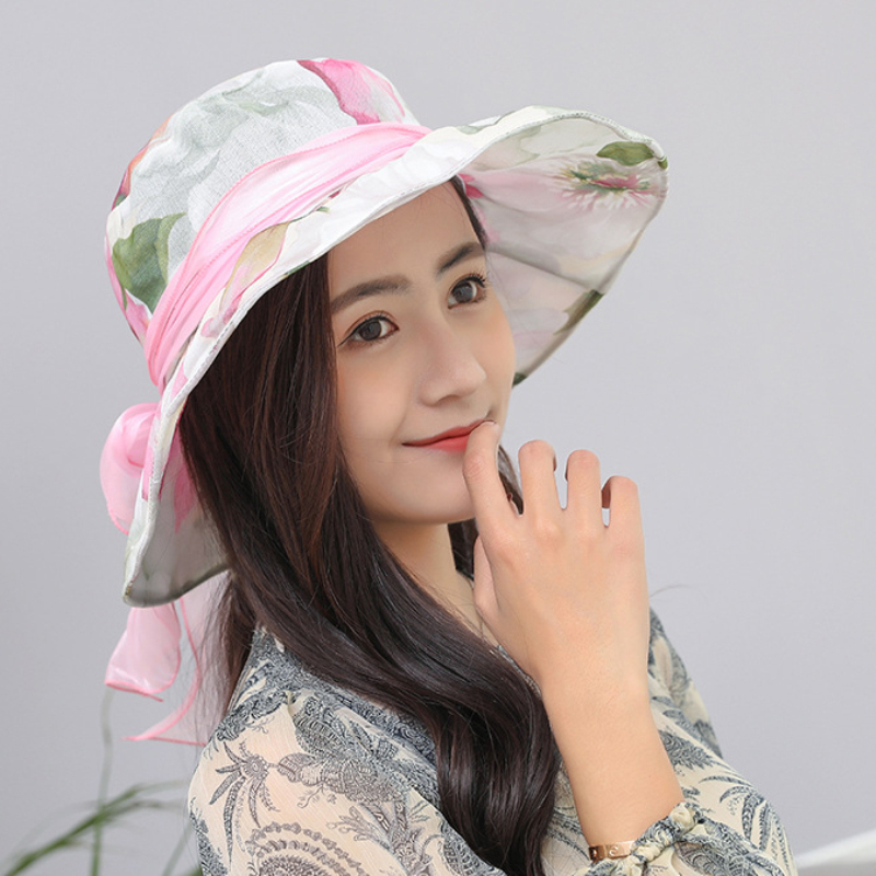 HT1633 New Fashion Packable Summer Sun Hat Women Ladies Korea Style Wide Brim Hat Floral Flower Print with ribbon Bow Panama Hat in Women 39 s Sun Hats from Apparel Accessories