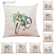 YITUN 45*45cm Pillow Case Bicycle With Flowers Throw Pillowcases Square Printing Polyester / Cotton Cover for Living Room