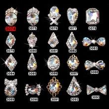 10pcs Crystal strass nagel decorative nail art rhinestones alloy 3d glitter jewelry manicure accessories 3074-3093(20style)