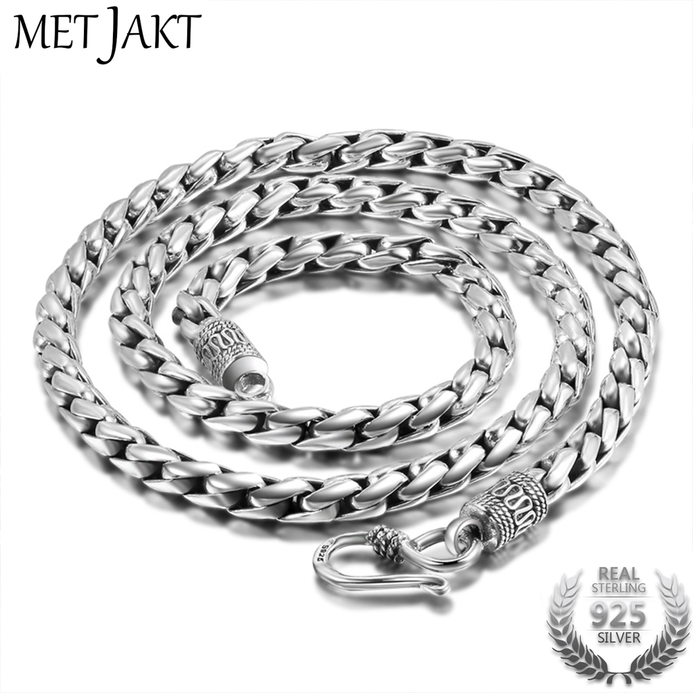 MetJakt 925 Sterling Silver 5mm Width Vintage Long Chain Necklaces for Men Steampunk Retro Rock Fashion Men Sterling Jewelry fashion rabbit and grass pattern 10cm width wacky tie for men