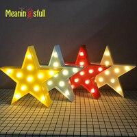 Meaningsfull Unikalne Żółty/Czerwony/Blue Star Led Night Lights Marquee Lampy Ścienne Do Salonu Kawiarnia Wystrój Prezenty urodzinowe