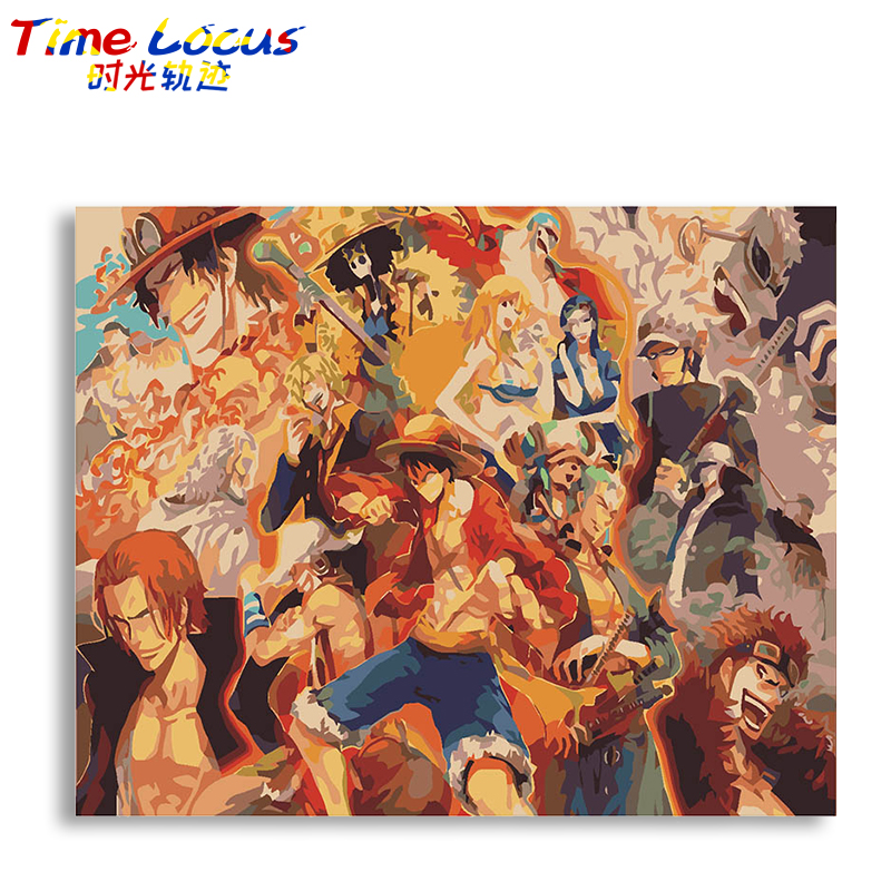 Anime One Piece DIY Frame Digital Oil Painting By Numbers Kits Hand Painted Home Decor Canvas Painting For Living Room Wall Art