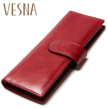 цены Long Business Card Hold 100% First Layer Genuine Cowhide Oil Wax Leather ID Holder For Card Women Credit Case Wallet Purse Bag