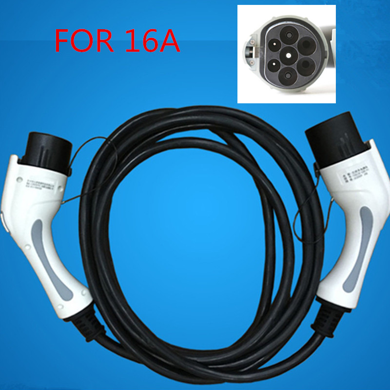 16A EV Charger 5m Black Cable Charging Extension Cable Electric Vehicle Extension Cord Connector for evse station ev charging station power out outlets socket for electrical vehicle charging leads with 1m cable ev charging point
