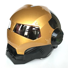 MASEI brillante Oro Negro IRONMAN Iron Man casco motocicleta medio casco de cara abierta casco casque motocross S M L XL(China)