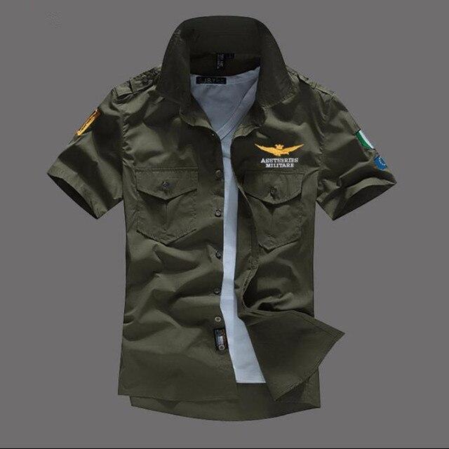 16912ede41a9 Men Shirt Airforce Uniform Military Short Sleeve Slim Fit Camisa Masculina Khaki  Army Green Shirt High Quality Shirt Men