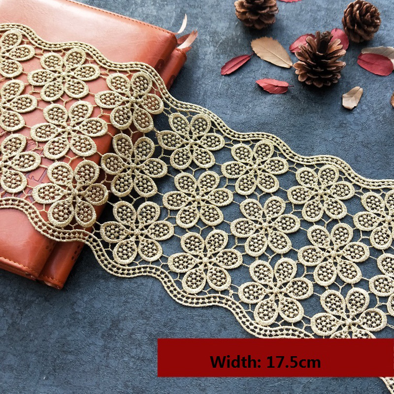 Braided Lace Ribbon Trim Gold Metallic Fabric Trimming Applique Decorated Sewing Supplies for Cloth Accessories 10yards