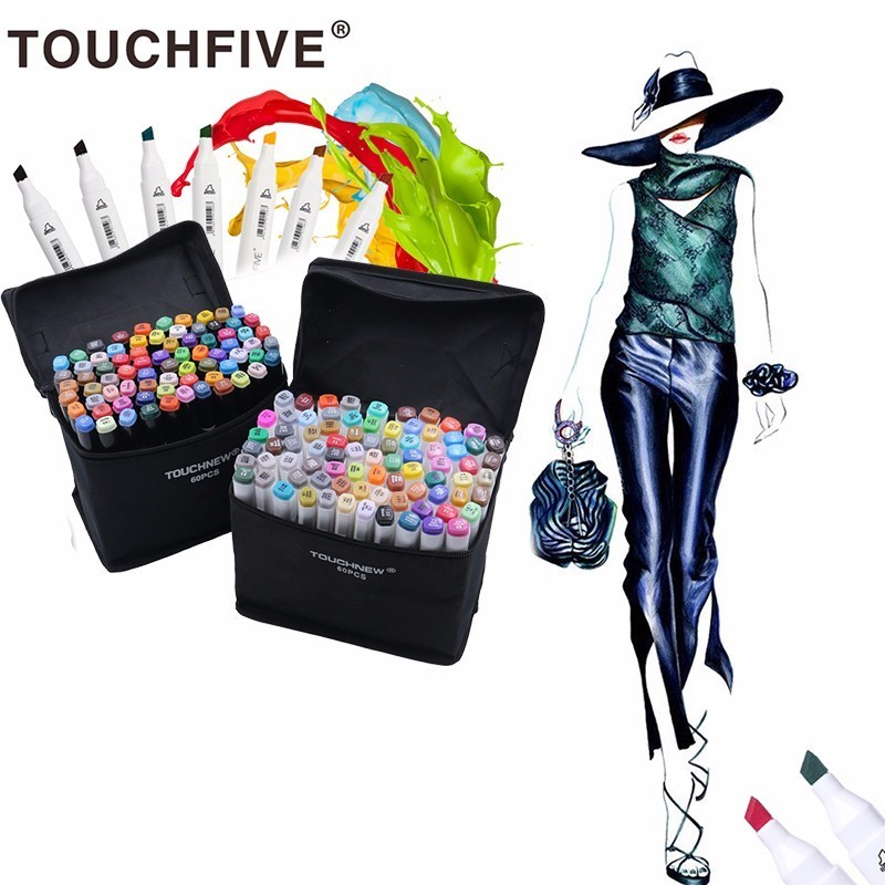 Touchfive 40/60/80 Color Art Marker Sketch Marker Artist Dual Head Art Markers Set For Artist Drawing Fashion Design Marker touchnew 30 40 60 80 colors artist design double head marker set quality sketch markers for school drawing art marker pen