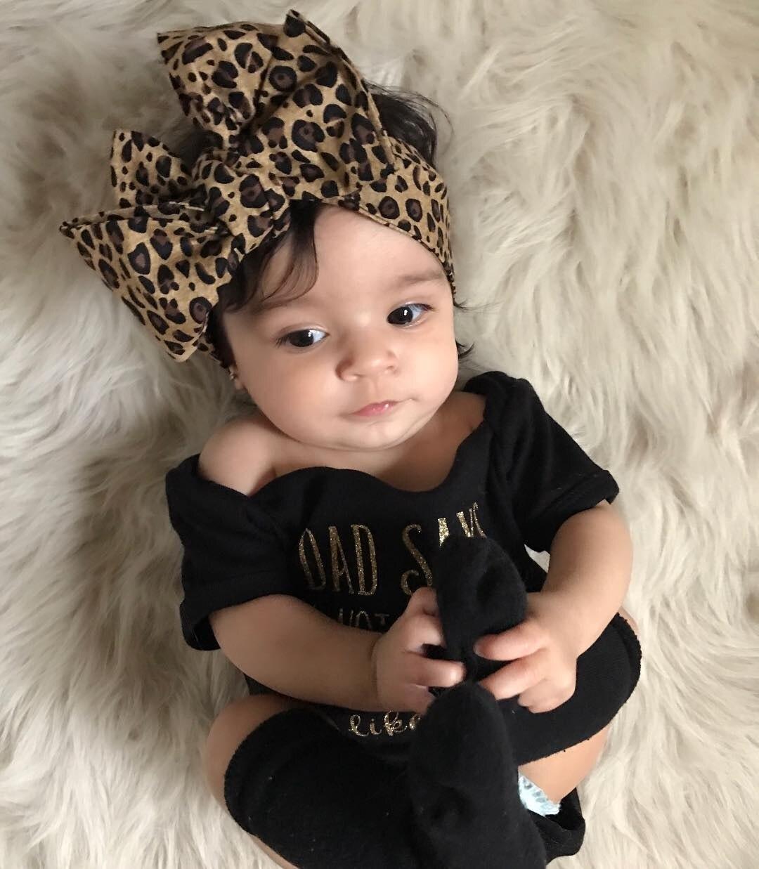 Trendy Kids Baby Girls Clothes off shoulder Bodysuit Leopard Headband 2pc cotton