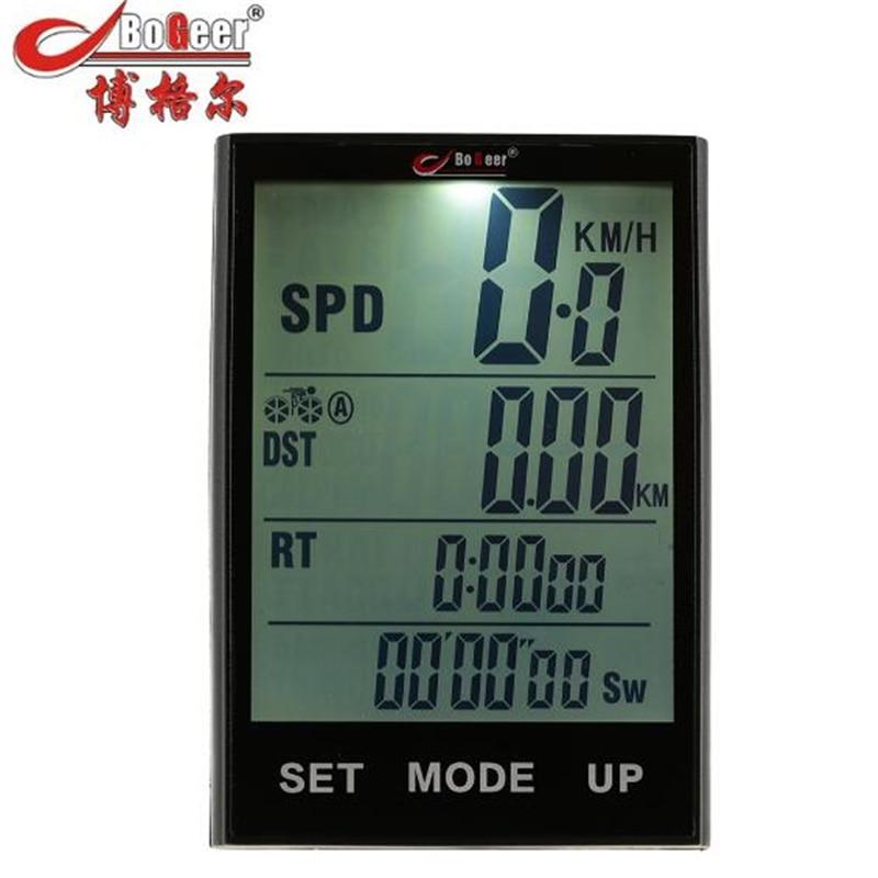 BOGEER Wireless Bike Computer Speedometer Odometer Rainproof Cycling Bicycle Computer Bike Measurable Temperature Stopwatch