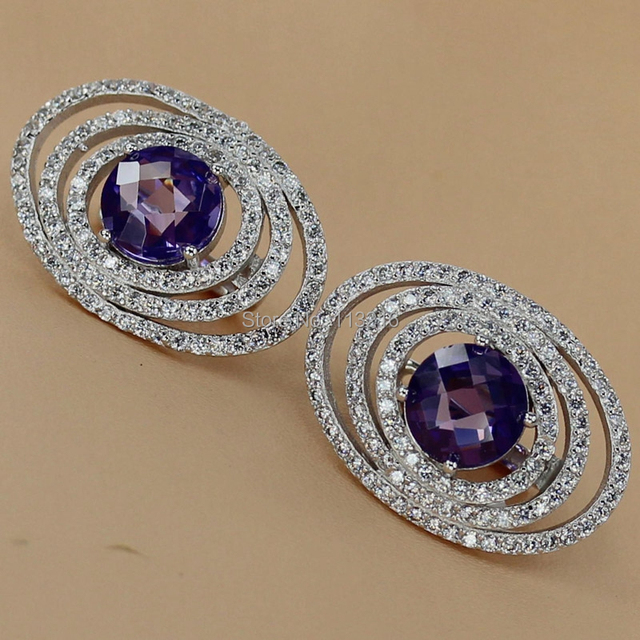 Silver Plated Hot Earrings Amethyst Cubic Zirconia and White Cubic Zirconia Rock R3264 Promotion New Arrivals Jewelry Wholesale