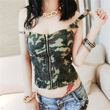 crop top 2017 fashion sexy Camisole Adjustable camouflage fold zipper All-match Bottoming tops harajuku blusa cropped feminino