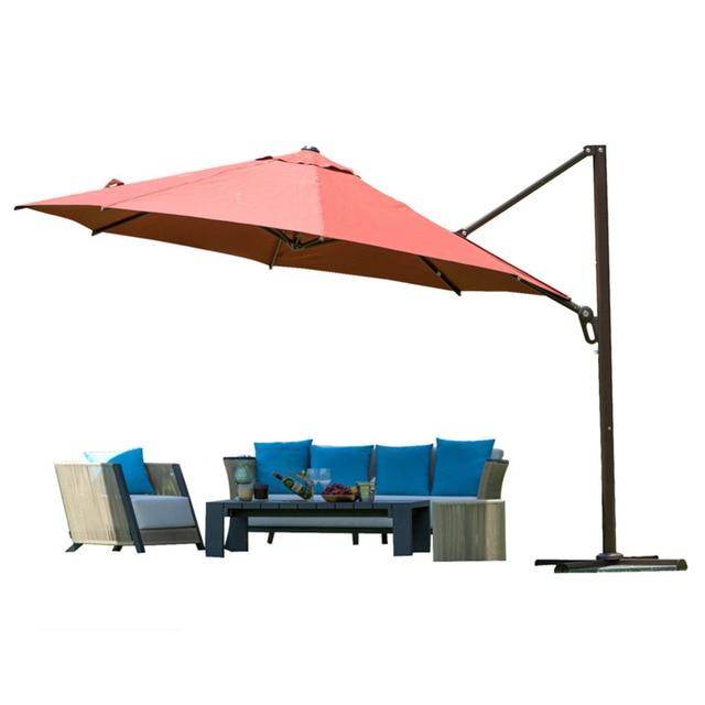 Abba Patio 11 Ft Octagon Cantilever Vented Tilt Crank Lift Patio Umbrella  With Cross Base Dark
