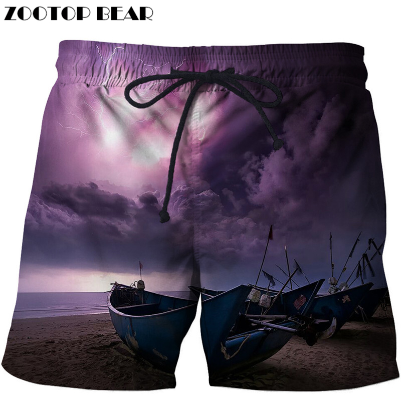 Boat Printed Beach Shorts Men Masculino Homme 3d Short Plage Quick Dry Swimwear Seaside Board Shorts Male Drop Ship Size S-6xl
