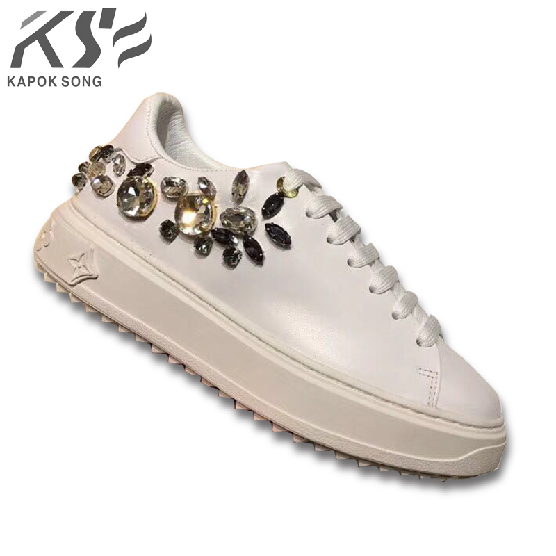new arrival sneaker women genuine leather flats luxury brand designer casual shoes new fashion model confortable shoes lady недорго, оригинальная цена