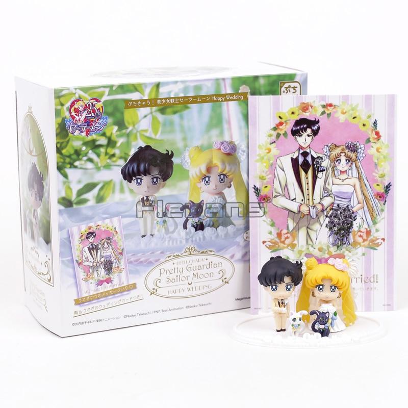 купить Pretty Guardian Sailor Moon Petit Chara! Happy Wedding Figures Mamoru Usagi Artemis Luna 4pcs/set по цене 653.8 рублей