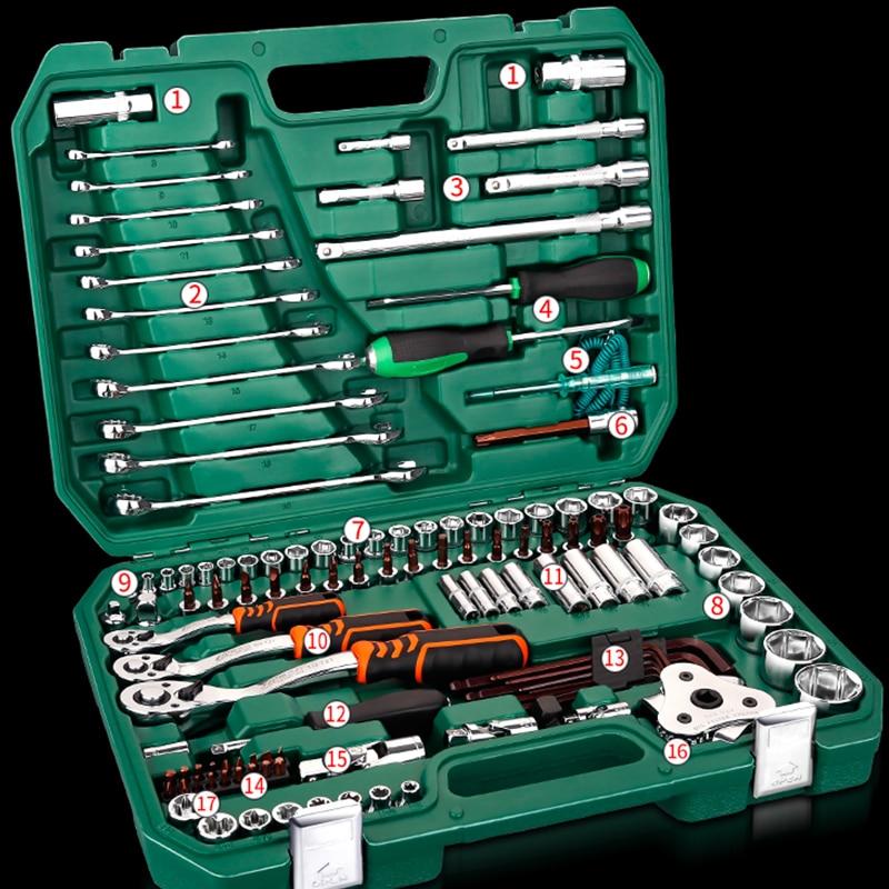 Инструменты для ремонта автомобиля, механические инструменты, набор 121 шт., 150 шт., торцевой ключ, инструменты для авто, Трещоточный ключ, отвертка, Набор торцевых головок, шестигранный ключ - 6
