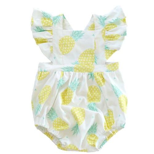 2018 Милая летняя одежда для маленьких девочек хлопок с летящими рукавами комбинезон боди ананас наряды пляжный костюм 0-18 м