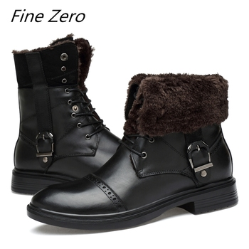 Fine Zero Natural Cow Leather Men Winter Shoes Warmest Genuine Leather Handmade Men Winter Snow Boots Unisex Brand Casual Boots