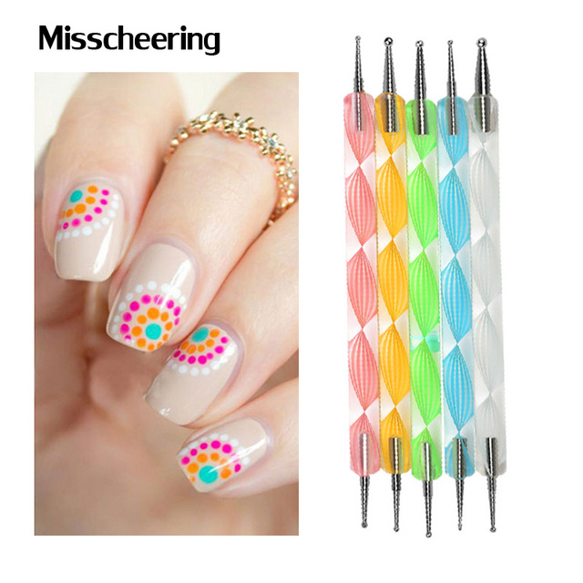 2way nail dotting pen5pcslot marbleizing nail polish paint 2way nail dotting pen5pcslot marbleizing nail polish paint manicure dot nail art prinsesfo Images