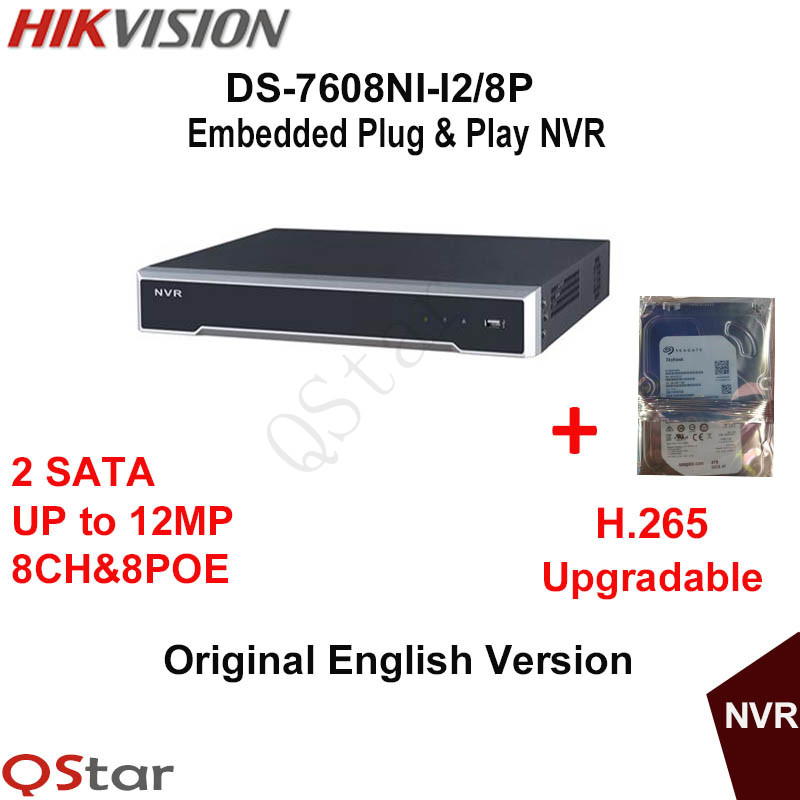 Hikvision Original English Version DS-7608NI-I2/8P 2SATA 8POE 8ch NVR supporting third-party Camera H.265 Build-in HDD 1/2/3/4T