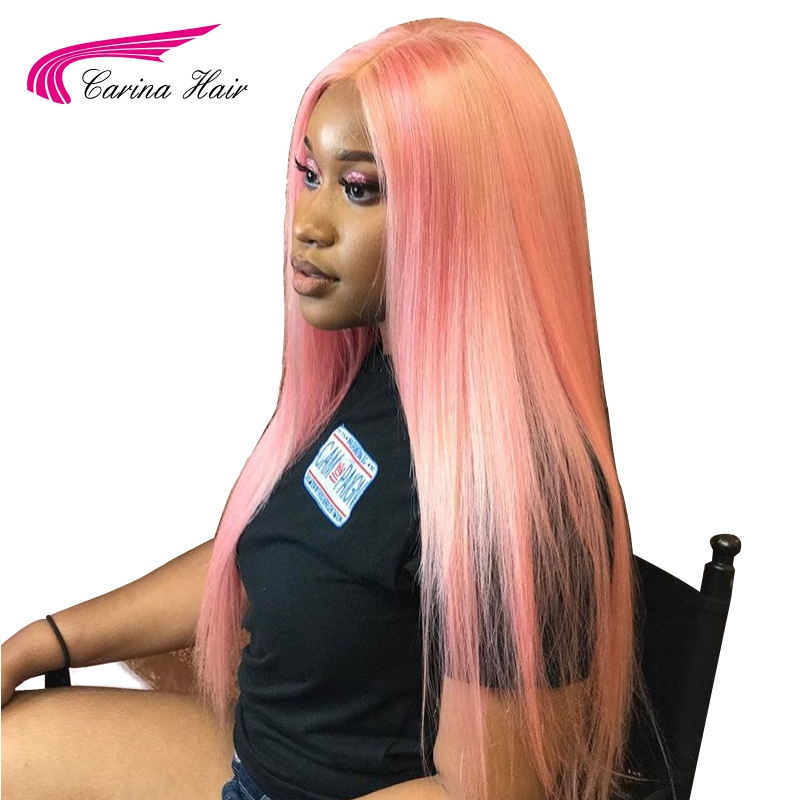 Carina Peruvian Remy Human Hair Pink Color Front Lace Wig
