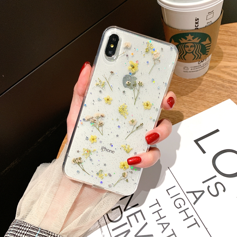 Person - Real Pressed Dried Flowers Phone Case For iPhone XS Max XR 6 6s 7 8 Plus X Silicon TPU Clear Floral Cover Cases Fundas