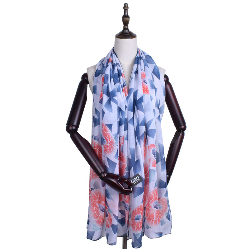 Scarf Women Foulard Spring Woman Long Soft Cotton Scarves Flower Print Large Lady