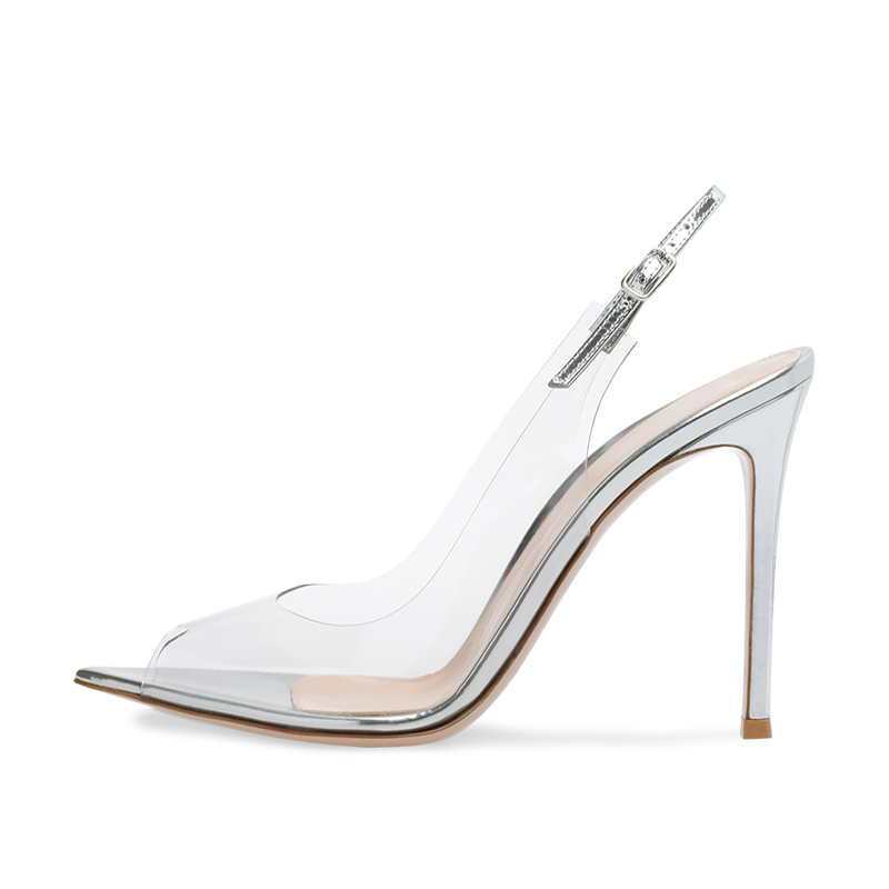 2286b79d8264b Sexy Pointed Peep Toe High Heel Clear Pumps for Woman Heeled Pointy  Slingback PVC Transparent Shoes Ladies Summer Stiletto Heels