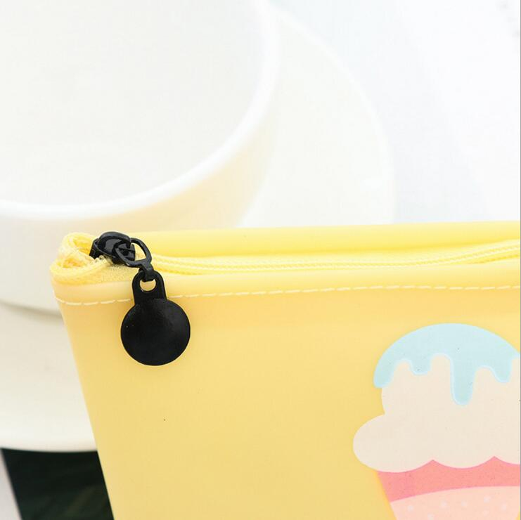 Ellen Brook 1 Piece New Cute Kawaii Ice Cream Pen Pencil Bag Case Pocket Pounch Silicon School Office Supplies Stationary