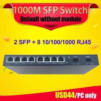Interruptor sfp 10 portas 2 porta e 8 portas rj45 gigabit sfp switch de fibra sfp