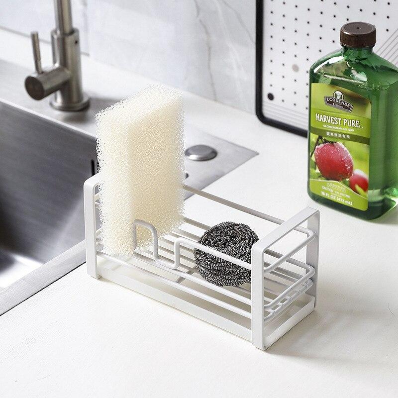 Kitchen Sink Sponge Rack Drainer Holder Wrought Iron Sponge Storage Drying Rack Basket Scouring Pot Toilet Soap Shelf Organizer