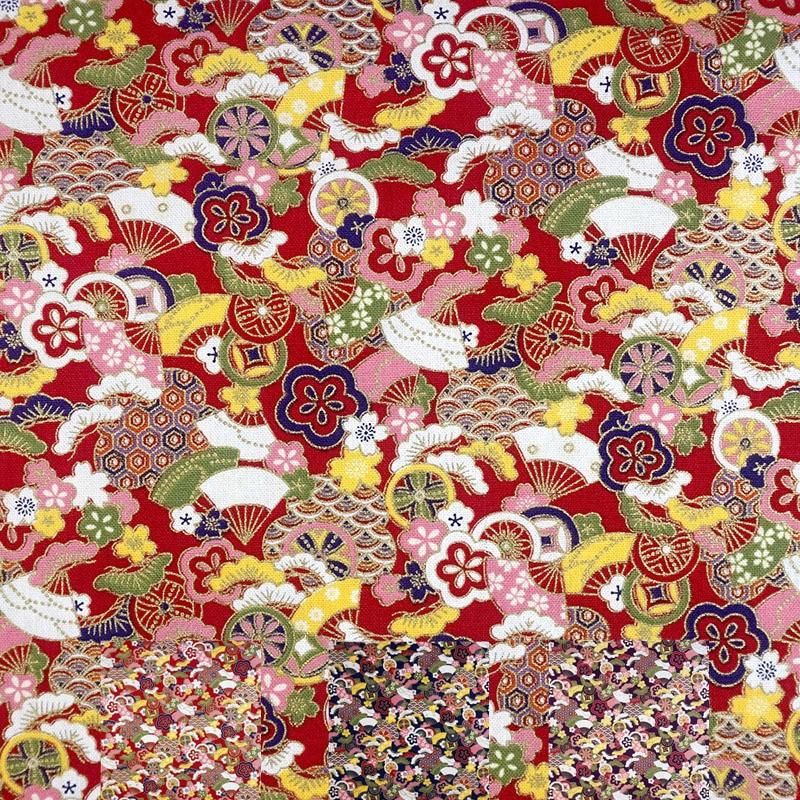 1 Yard Abstract Reactive Fan Florals Print Hot Stamping 100% Cotton Fabric The Kimono Pajamas Handbag Fabrics DIY Accessories