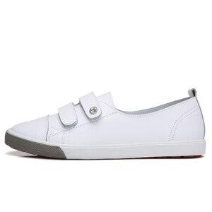 Image 3 - STQ 2020 automne femmes chaussures plates dames sans lacet ballerines mocassins en cuir chaussures femmes décontracté bateau chaussures dames blanc baskets 180