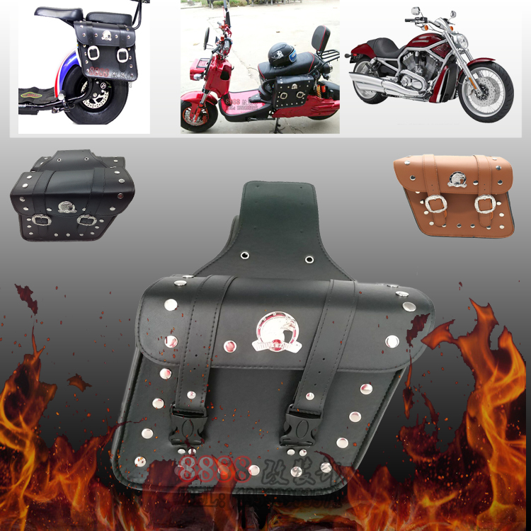 Free Shipping Leather Motorcycle SaddleBag Sissy Bar Barrel Tool Bag Luggage Chopper 250cc 400cc 500cc