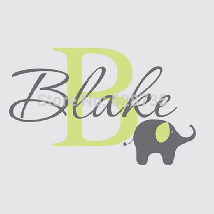 Childrens Name Elephant Wall Decal - Boys Name Custom Vinyl Wall Sticker - Baby Nursery Wall Decals for Kids Rooms Decor