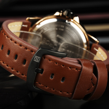 Men's Stylish Wristwatch with Leather Band and Box